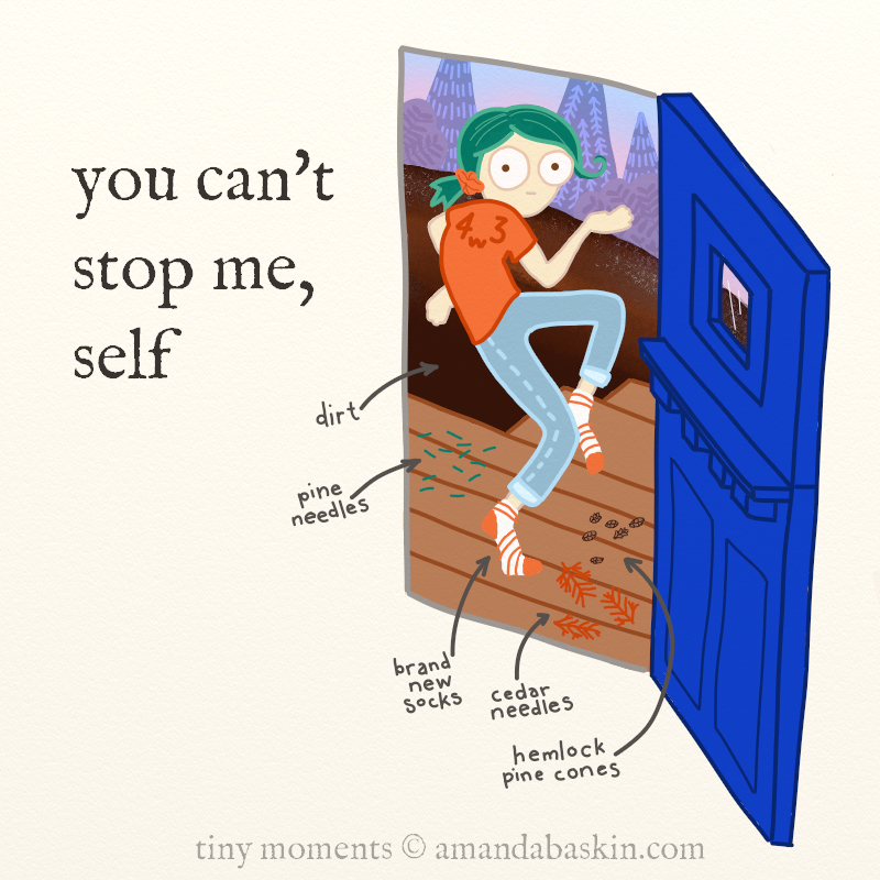 """Tiny moments comic frame two of two. Frame text: """"you can't stop me, self."""" A crazed 30 something with green hair tiptoes out of her tiny house in brand new socks, fully aware that there are pine needles, cedar needles, hemlock pine cones and dirt that will ruin her socks."""